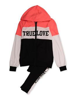 Girls 7-16 True Love Color Block Sweatshirt and Sweatpants - 3608038340121