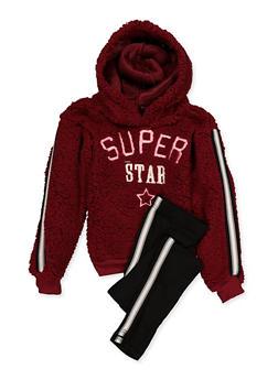 Girls 7-16 Graphic Sherpa Sweatshirt and Leggings - 3608038340125