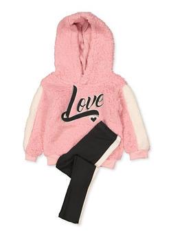 Girls 7-16 Love Sherpa Sweatshirt with Leggings - 3608038340126