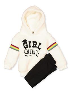 Girls 7-16 Girl Queen Sherpa Sweatshirt with Leggings - 3608038340128