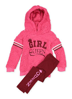 Girls 7-16 Girl Queen Sherpa Sweatshirt with Leggings - 3608038340128