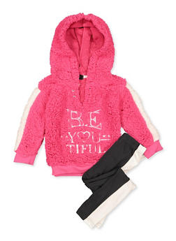 Girls 7-16 Be You Tiful Sherpa Sweatshirt with Leggings - 3608038340129