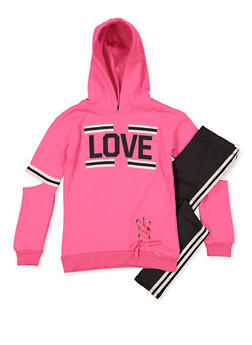 Girls 7-16 Love Lace Up Sweatshirt with Leggings - 3608038340142
