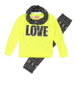 Girls 7-16 Love Graphic Top with Leggings and Scarf - 3608048370021