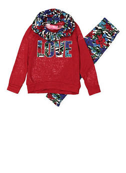 Girls 7-16 Love Graphic Sweater with Leggings and Scarf - 3608048370022