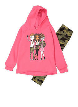 Girls 7-16 Graphic Sweatshirt with Camo Leggings - 3608048370023