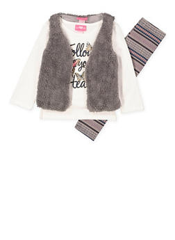 Girls 7-16 Glitter Graphic Tee with Leggings and Vest - 3608048370025
