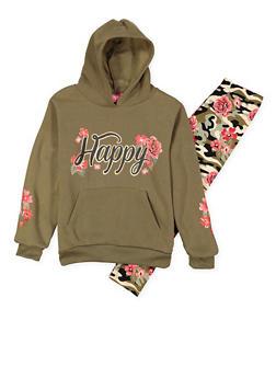 Girls 5-16 Graphic Sweatshirt with Leggings - 3608048370026