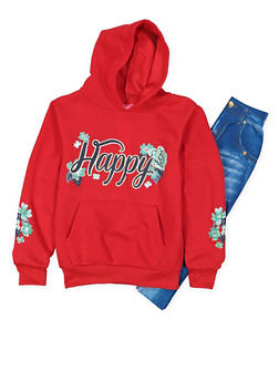 Girls 7-16 Graphic Sweatshirt with Leggings - 3608048370026