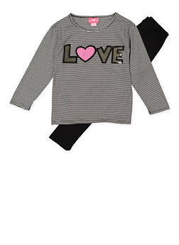 Girls 7-16 Striped Sequin Top with Leggings - 3608048370027