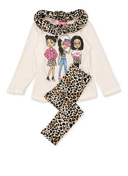 Girls 7-16 Knit Boss Top with Leggings and Scarf - 3608048370035