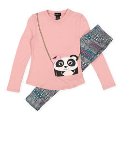 Girls 7-16 Panda Graphic Tee with Printed Leggings - 3608051060001