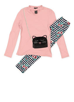 Girls 7-16 Cat Purse Graphic Tee and Printed Leggings - 3608051060002