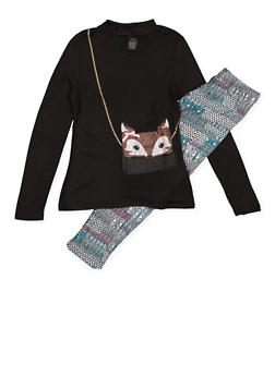 Girls 7-16 Graphic Purse Top with Printed Leggings - 3608051060004