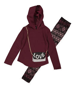 Girls 7-16 Love Purse Graphic Sweatshirt with Printed Leggings - 3608051060005