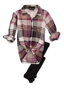 Girls 7-16 Plaid Shirt with Caged Leggings - 3608051060010