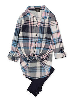 Girls 7-16 Plaid Tie Front Shirt with Leggings - 3608051060011