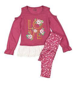 Girls 4-16 Cold Shoulder Top and Leggings Set - 3608054730003