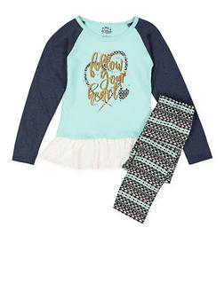 Girls 7-16 Graphic Lace Trim Top with Leggings - 3608054730004