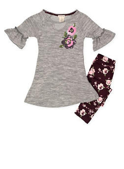 Girls 7-16 Knit Tunic Top with Floral Leggings - 3608061950110