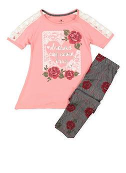 Girls 7-16 Graphic Tee and Printed Leggings - 3608061950111