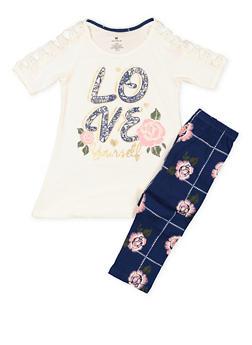 Girls 7-16 Love Graphic Tee and Printed Leggings - 3608061950112
