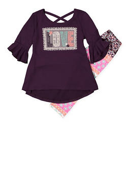Girls 7-16 Love Embroidered Top with Leggings - 3608061950113