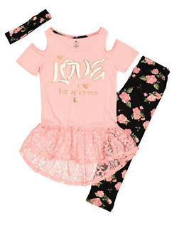 Girls 7-16 Graphic Top with Leggings and Headband - 3608061950114