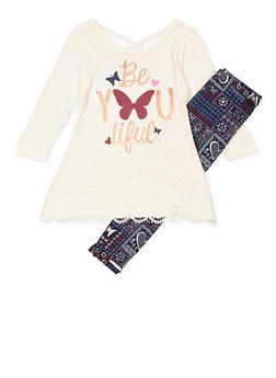 Girls 7-16 Graphic Tunic Top with Printed Leggings - 3608061950118