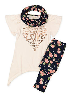 Girls 7-16 Foil Graphic Dress with Leggings and Scarf - 3608061950119