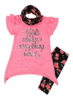 Girls 7-16 Asymmetrical Top with Leggings and Scarf - 3608061950120