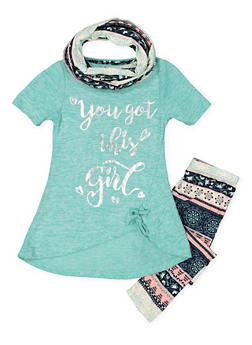 Girls 7-16 Graphic Top with Printed Leggings and Scarf - 3608061950122