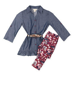 Girls 7-16 Chambray Top with Printed Leggings - 3608061950124