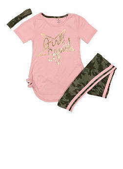 Girls 7-16 Graphic Tee with Leggings and Headband - 3608061950125