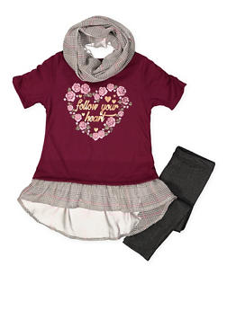 Girls 7-16 Graphic Tee with Leggings and Scarf - 3608061950127