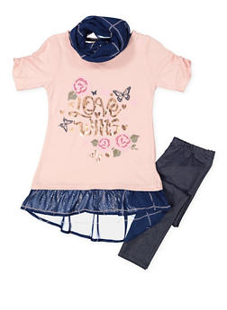 Girls 7-16 Graphic Top with Leggings and Printed Scarf - 3608061950128