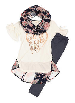Girls 7-16 Graphic Top with Leggings and Scarf - 3608061950129