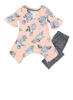 Girls 7-16 Floral Sweater and Denim Knit Leggings - 3608061950132