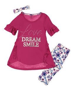 Girls 7-16 Foil Graphic Tee with Printed Leggings - 3608061950136