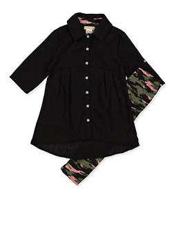 Girls 7-16 Button Front Top with Camo Leggings - 3608061950143