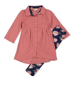 Girls 7-16 Tabbed Sleeve Shirt and Floral Leggings - 3608061950144