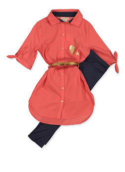 Girls 7-16 Belted Tunic Shirt with Denim Knit Leggings - 3608061950145
