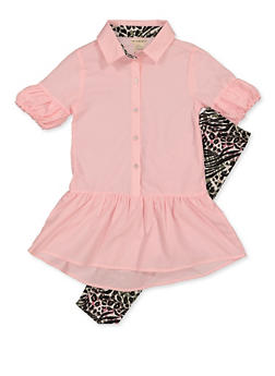Girls 7-16 Button Front Top with Animal Print Leggings - 3608061950147