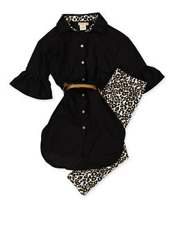 Girls 7-16 Button Front Shirt with Leopard Leggings - 3608061950149