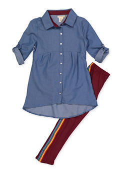 Girls 7-16 Chambray Tabbed Sleeve Shirt and Leggings - 3608061950151
