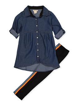 Girls 7-16 Chambray Shirt and Leggings Set - 3608061950152