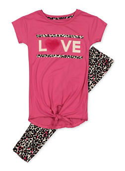 Girls 7-16 Love Tie Front Tee and Leopard Print Leggings - 3608061950153