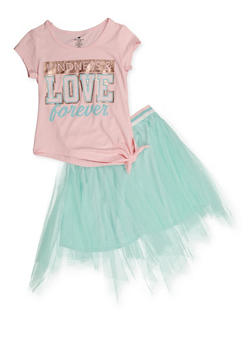 Girls 5-16 Kindness and Love Forever Tee with Tutu Skirt - 3608061950158