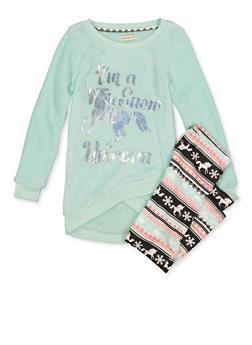 Girls 7-16 Im A Snow Unicorn Fleece Top with Leggings - 3608061950174