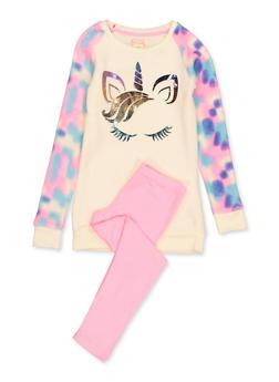 Girls 7-16 Foil Unicorn Fleece Top with Leggings - 3608061950175